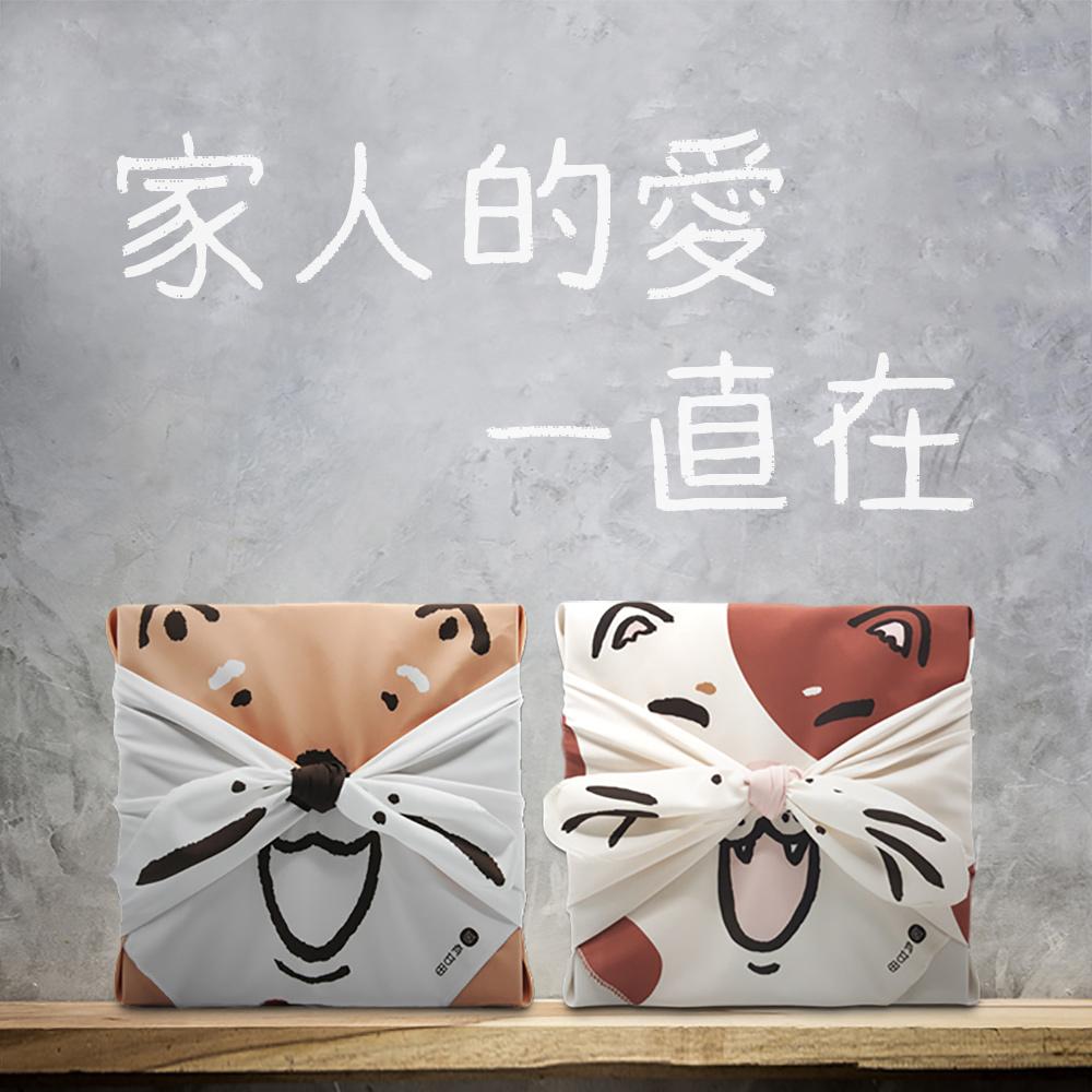 有甘田|貓狗一家親布包禮盒組(計時泡茶隨行杯+茶膠囊五入套組)