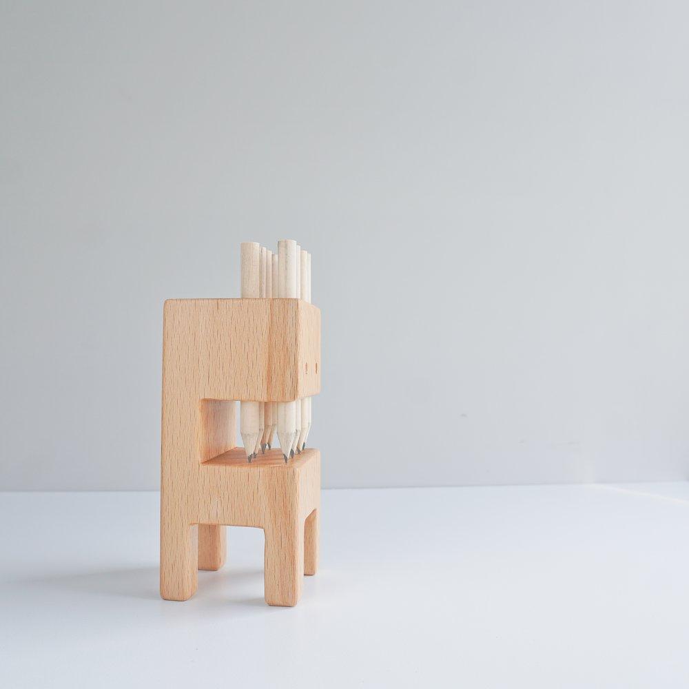 TOSMU 童心木 木製筆筒-牙怪