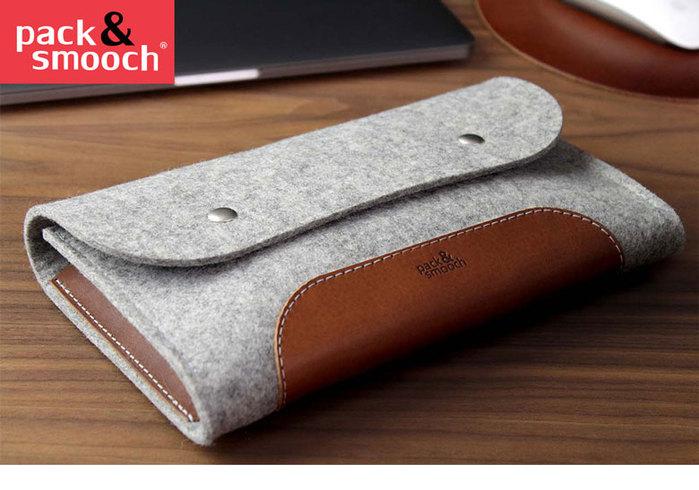 Pack & Smooch|羊毛氈真皮多功能收納袋 (石灰/淺棕)