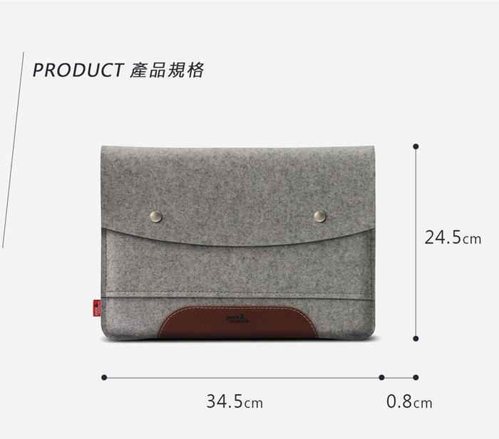 (複製)Pack & Smooch|Hampshire iPad Pro 10.5 吋羊毛氈真皮保護袋 (石灰/淺棕)