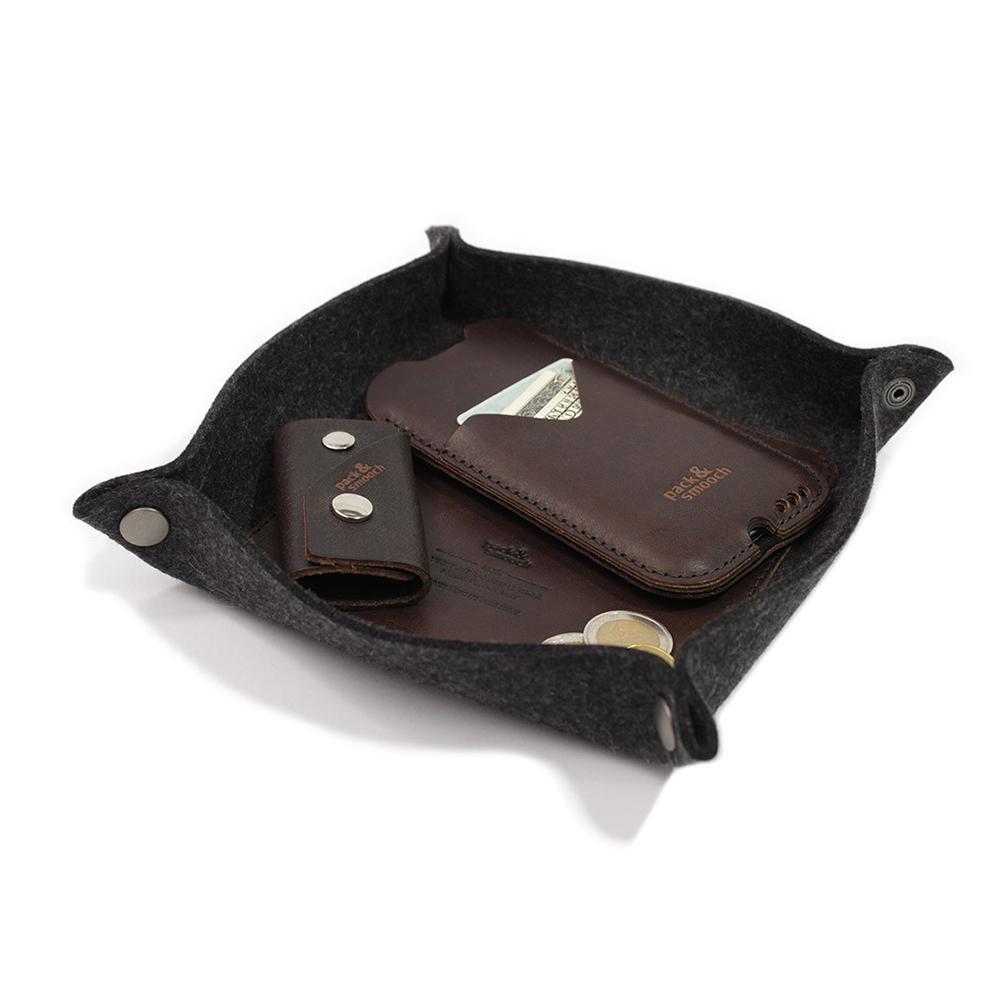 Pack & Smooch|CORBY 羊毛氈真皮托盤(黑灰x深棕)