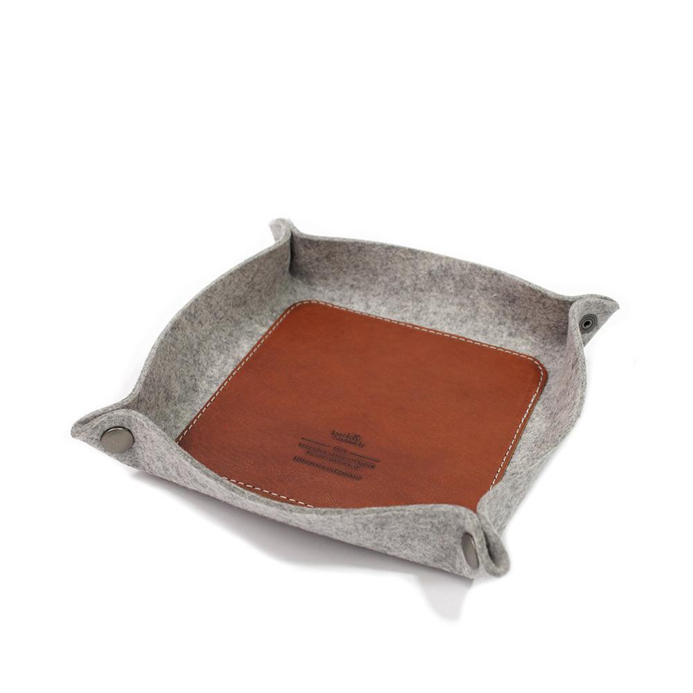 Pack & Smooch|CORBY 羊毛氈真皮托盤(石灰/淺棕)
