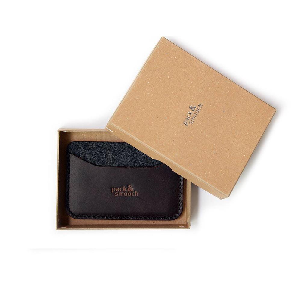 Pack & Smooch|Keswick 手工製天然羊毛氈皮革卡夾套 (深棕皮革/碳黑羊毛氈)