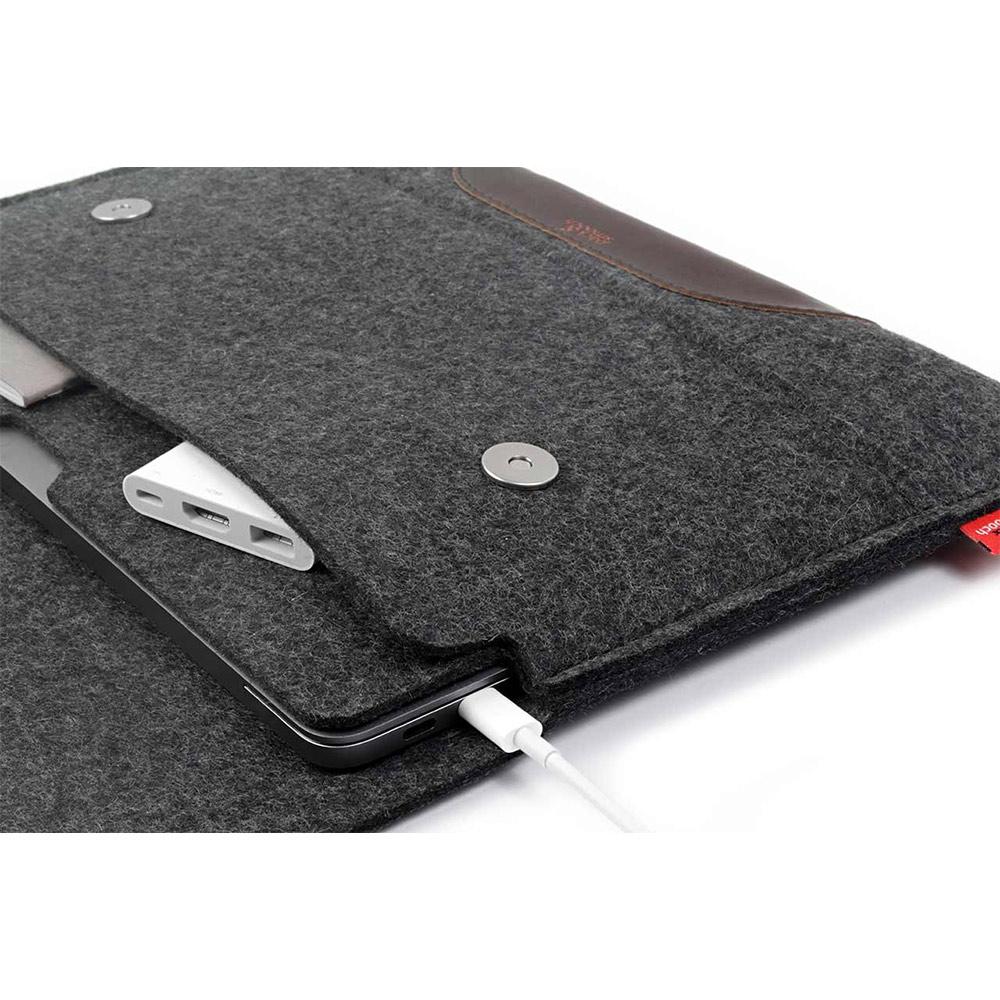Pack & Smooch|Hampshire MacBook Pro 13 吋 (2016 Touch ID)羊毛氈保護袋 (碳黑/深棕)