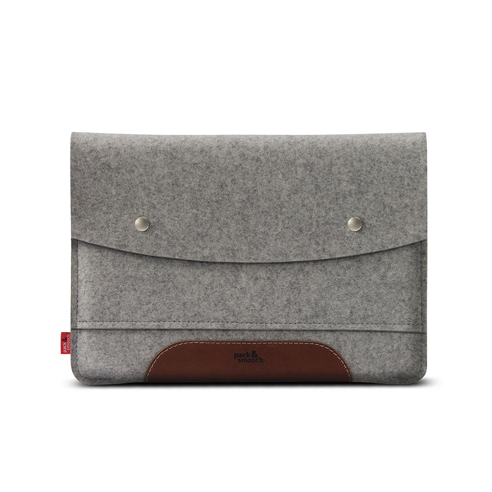 Pack & Smooch|Hampshire iPad Pro 12.9 吋羊毛氈真皮保護袋 (石灰/淺棕)