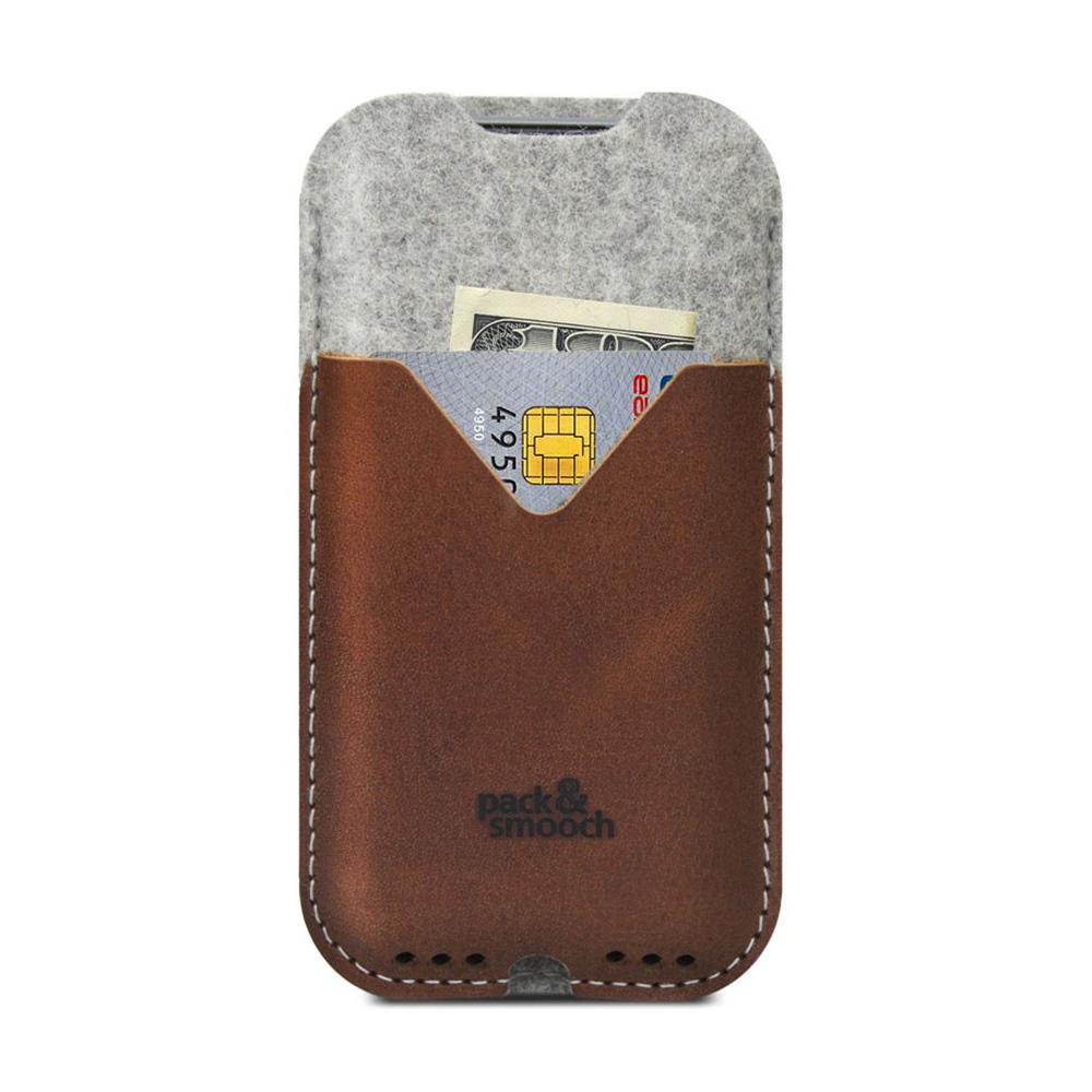 Pack & Smooch Kirkby iPhone 6/6s/7 Plus 手工製天然羊毛氈皮革保護套 (石灰/淺棕)