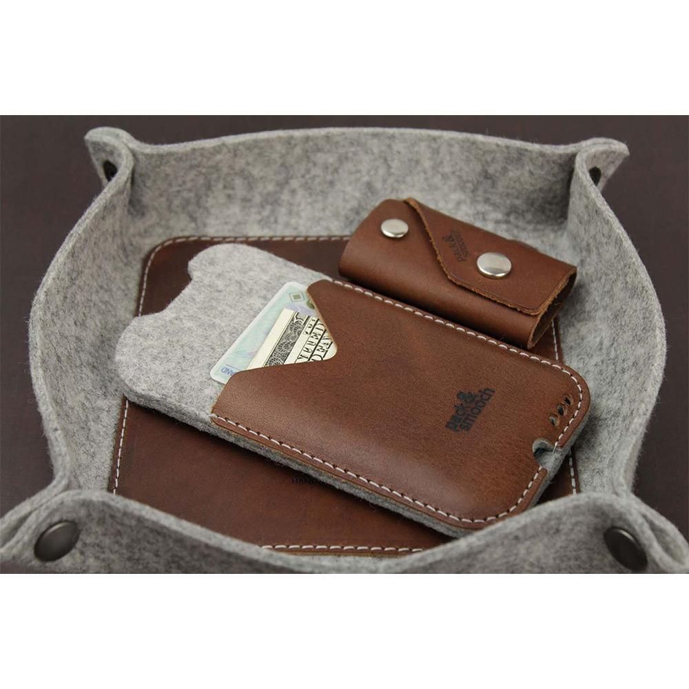 Pack & Smooch|Kirkby iPhone 6/6s/7 Plus 手工製天然羊毛氈皮革保護套 (石灰/淺棕)