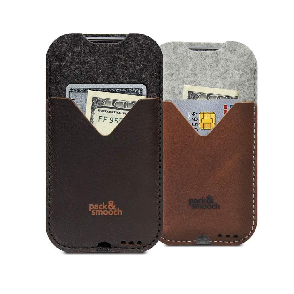 Pack & Smooch Kirkby iPhone 6/6s/7 Plus 手工製天然羊毛氈皮革保護套 (碳黑/深棕)