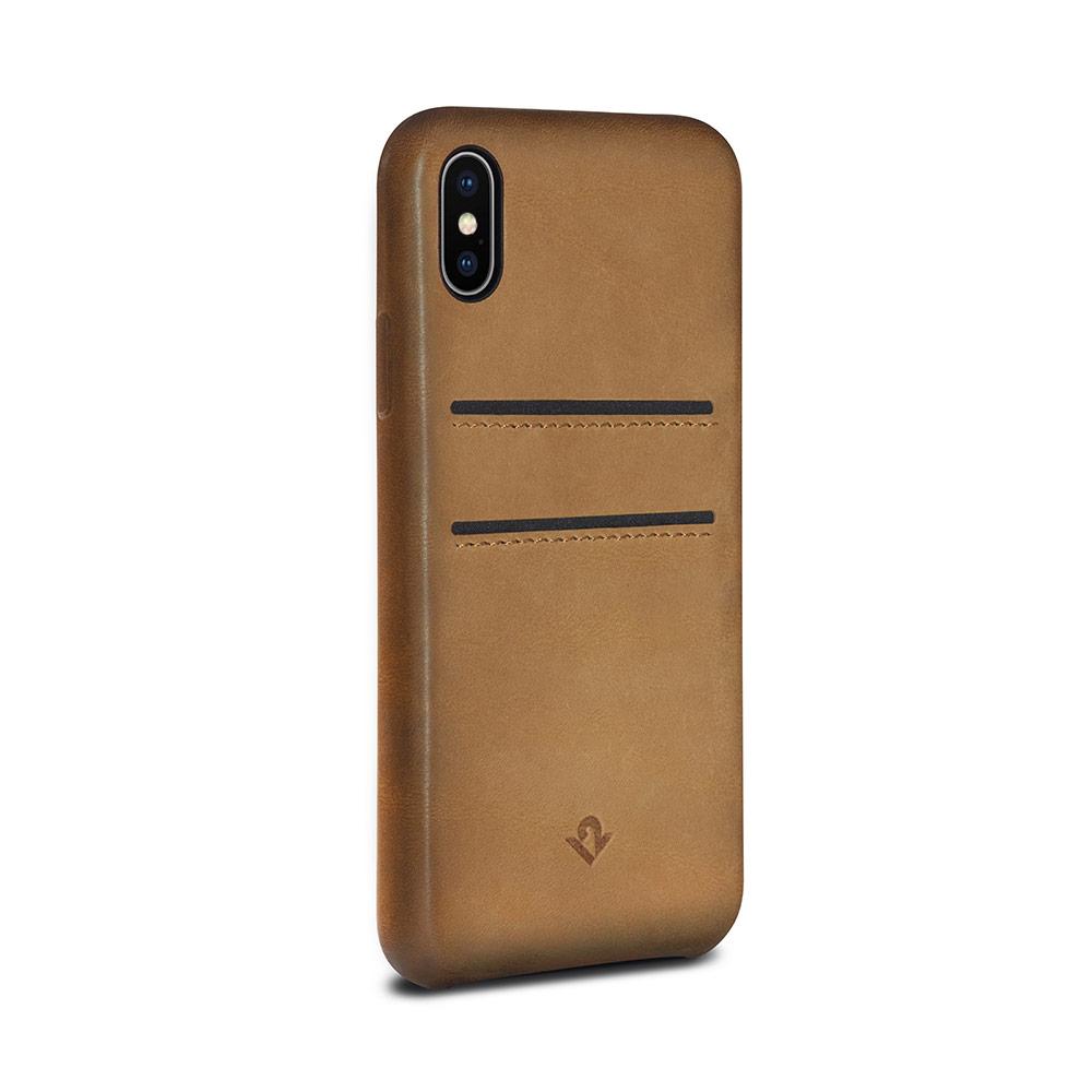 Twelve South|Relaxed Leather iPhone X 卡夾皮革保護背蓋 - 干邑棕