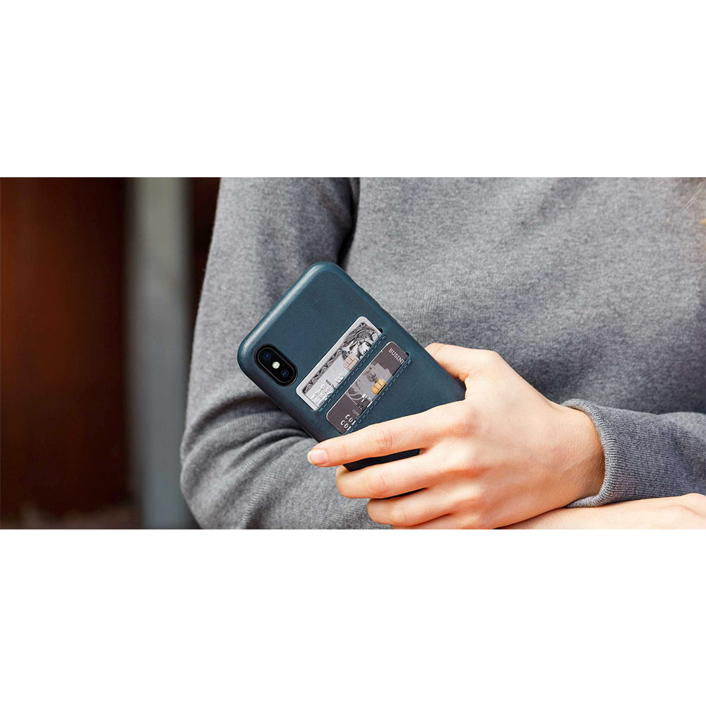 Twelve South Relaxed Leather iPhone X 卡夾皮革保護背蓋 - 干邑棕