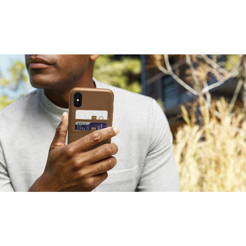 Twelve South Relaxed Leather iPhone X 卡夾皮革保護背蓋 - 伯爵灰