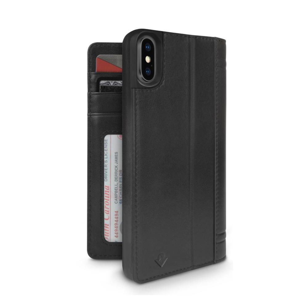 Twelve South|Journal iPhone X 皮革卡夾保護套 - 黑色