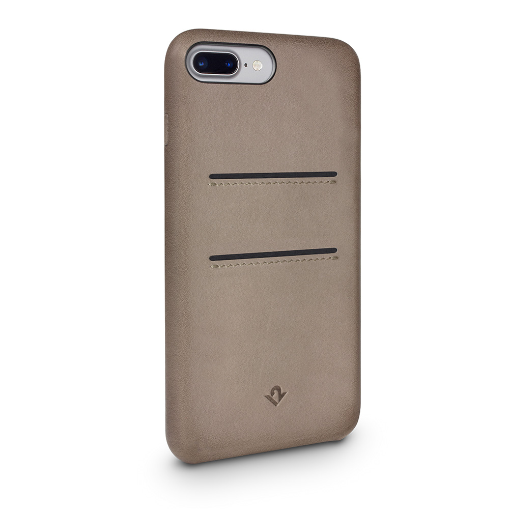 Twelve South|Relaxed Leather iPhone 8 Plus 卡夾皮革保護背蓋 - 灰褐色