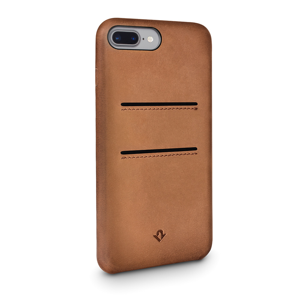 Twelve South|Relaxed Leather iPhone 8 Plus 卡夾皮革保護背蓋 - 干邑棕