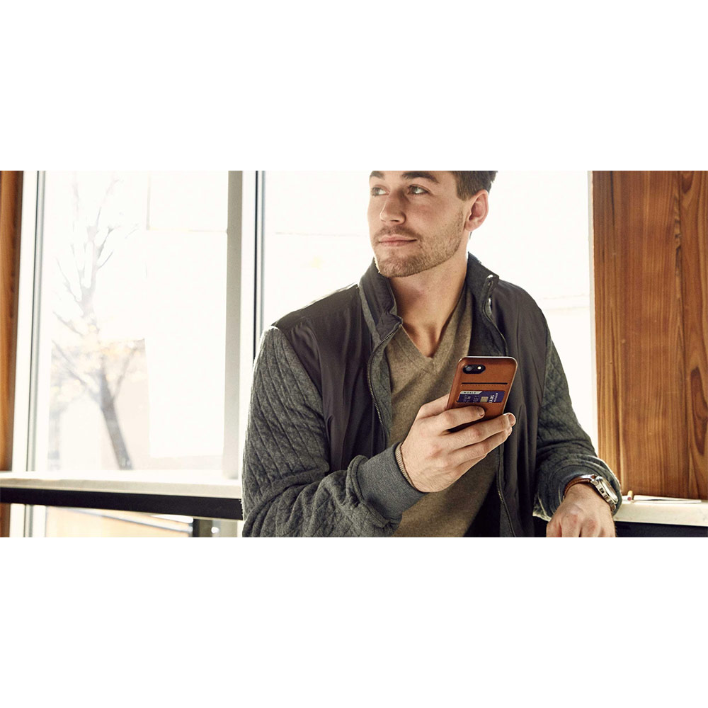 Twelve South|Relaxed Leather iPhone 8 卡夾皮革保護背蓋(干邑棕)