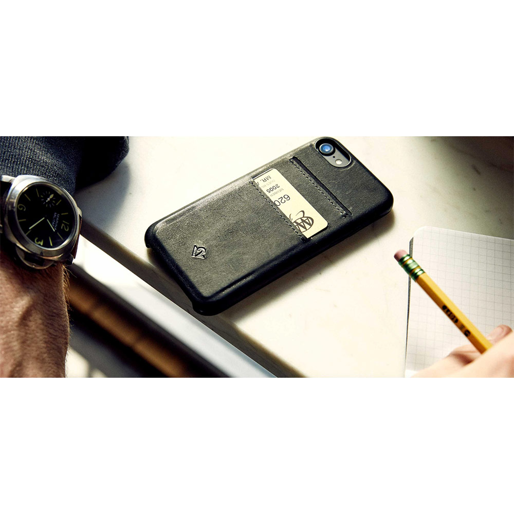 Twelve South|Relaxed Leather iPhone 8 卡夾皮革保護背蓋 - 灰褐色