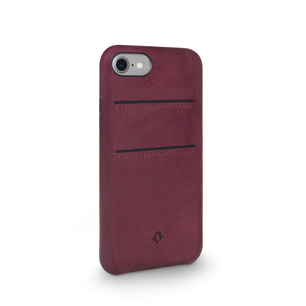 Twelve South|Relaxed Leather iPhone 8 卡夾皮革保護背蓋 - 馬薩拉酒紅