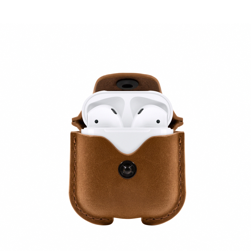 Twelve South AirSnap for AirPods 皮革保護套 - 干邑棕