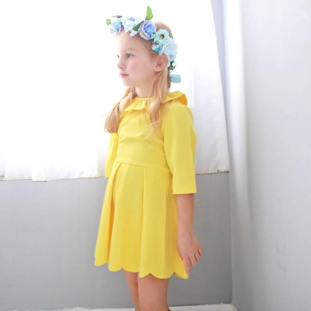Bunny n Bloom|七分袖波浪裙襬洋裝 (小孩版)