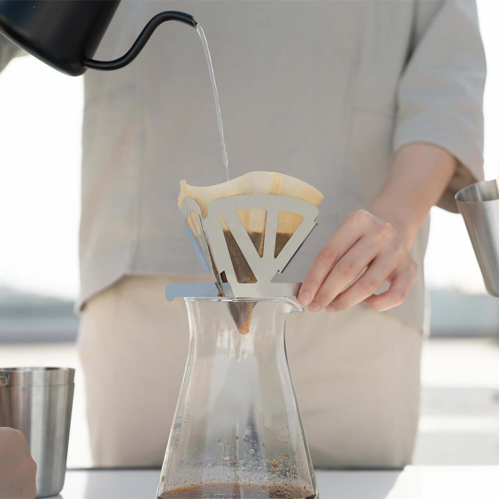 源源鋼藝 uanuan|Tierce02 咖啡隨行濾杯+沐紙皮套 組合