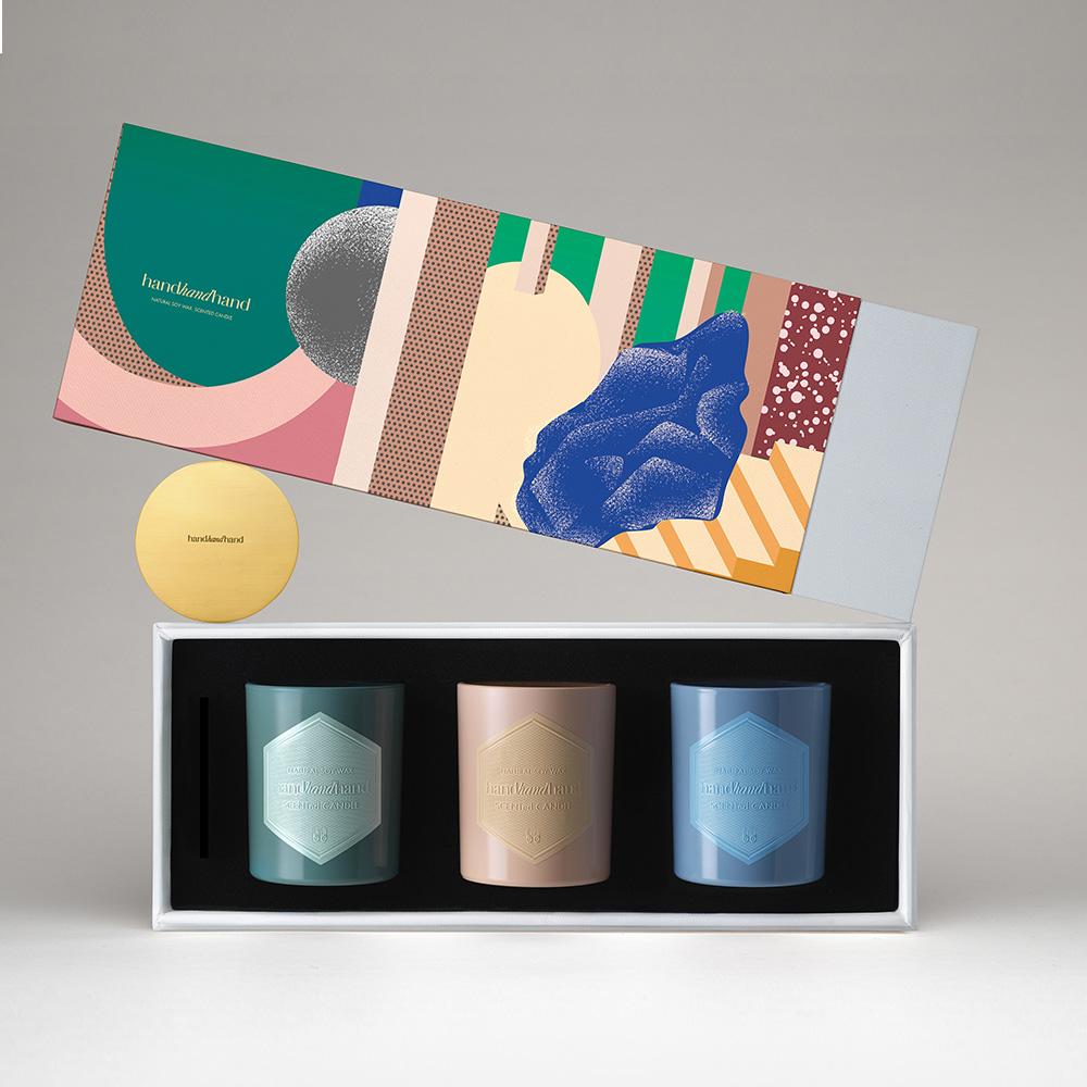 handhandhand|HHH香氛精油蠟燭節慶版禮盒 (紅茶、西洋梨、青草 / 含銅蓋)