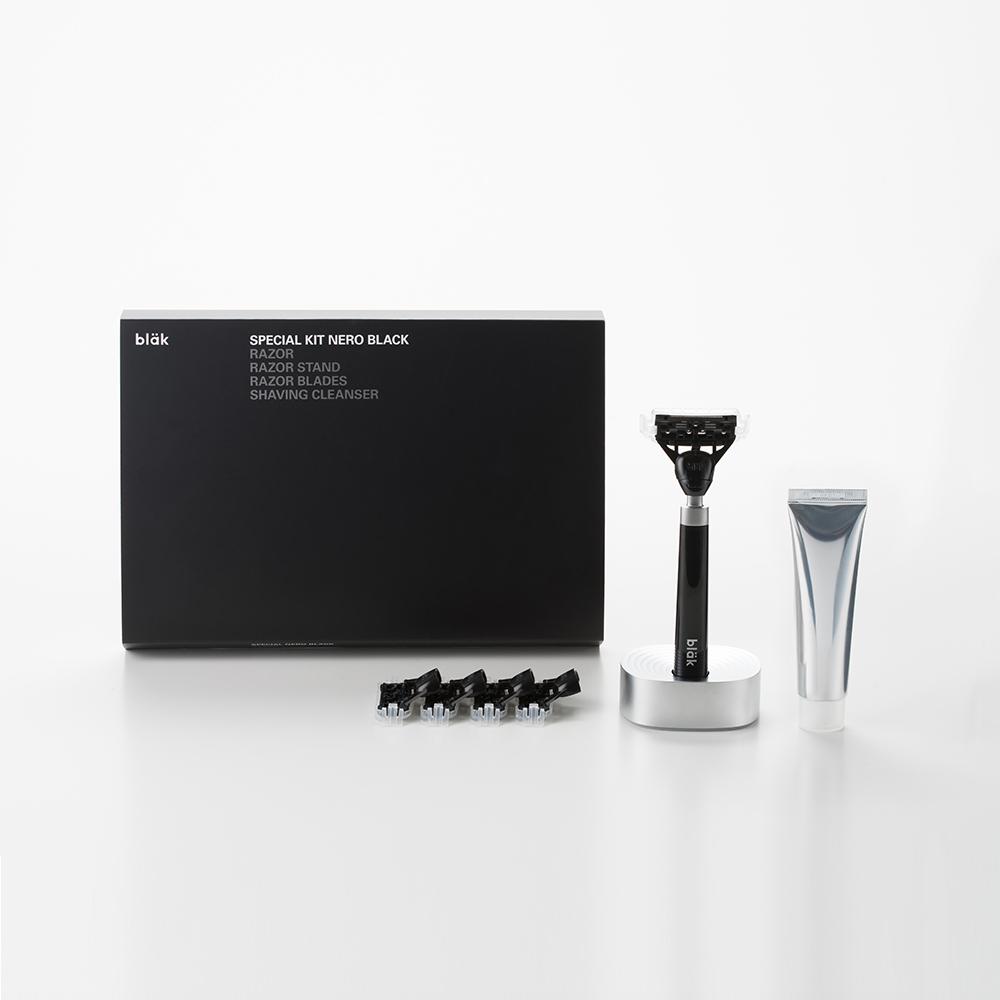 bläk|blak經典刮鬍刀禮盒套組(極致黑)