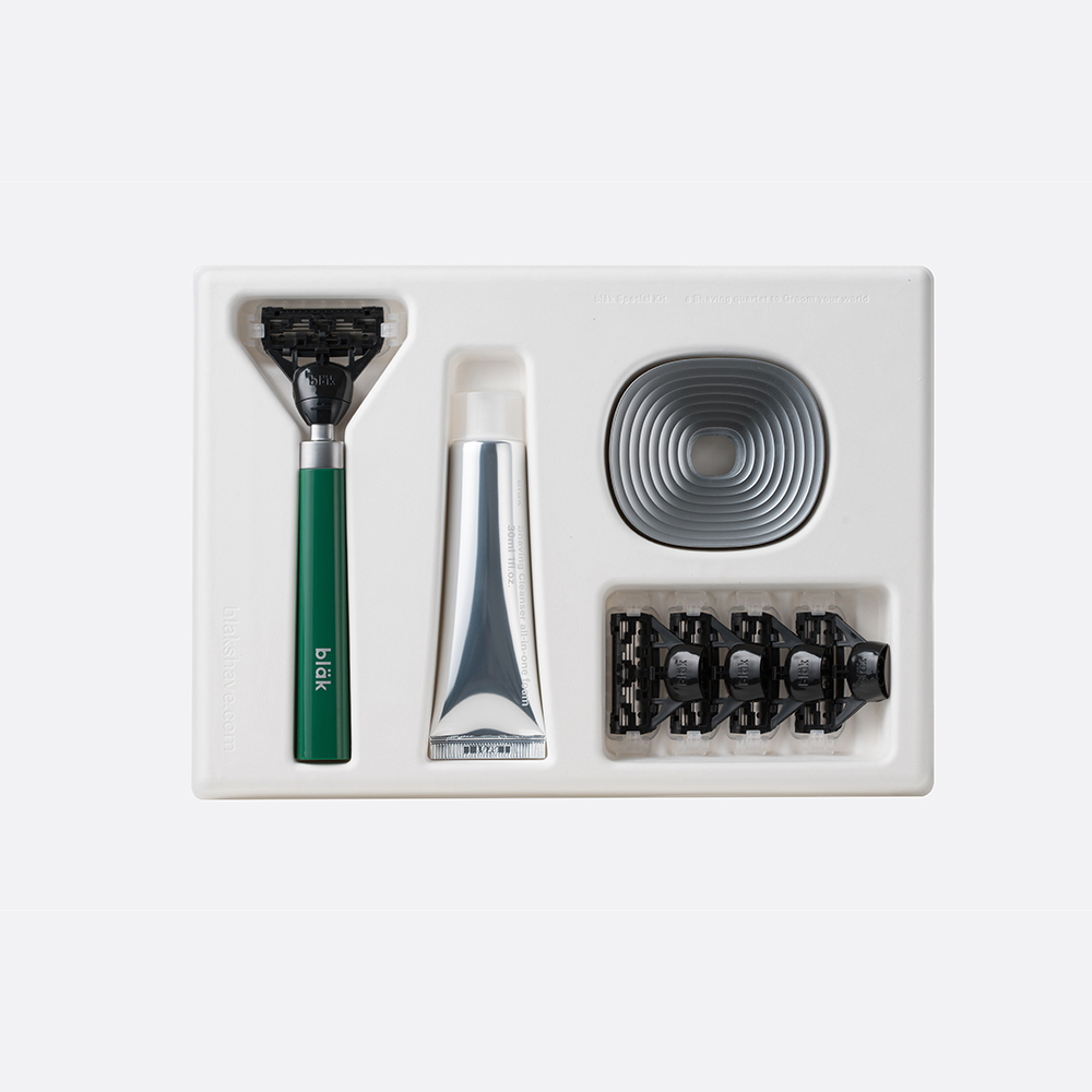 bläk|blak經典刮鬍刀禮盒套組2.0版(迷霧綠)