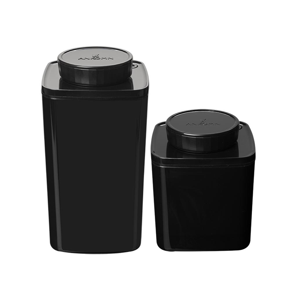 ANKOMN Turn-N-Seal真空保鮮盒 1200+600ml 黑色 (2入組)