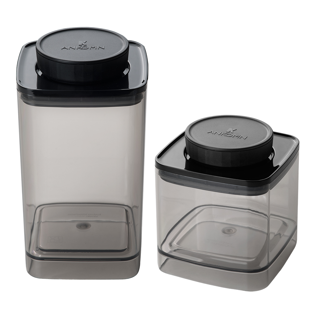 ANKOMN|EVERLOCK 氣密保鮮罐 1200+600ml 半透明黑(2入組)