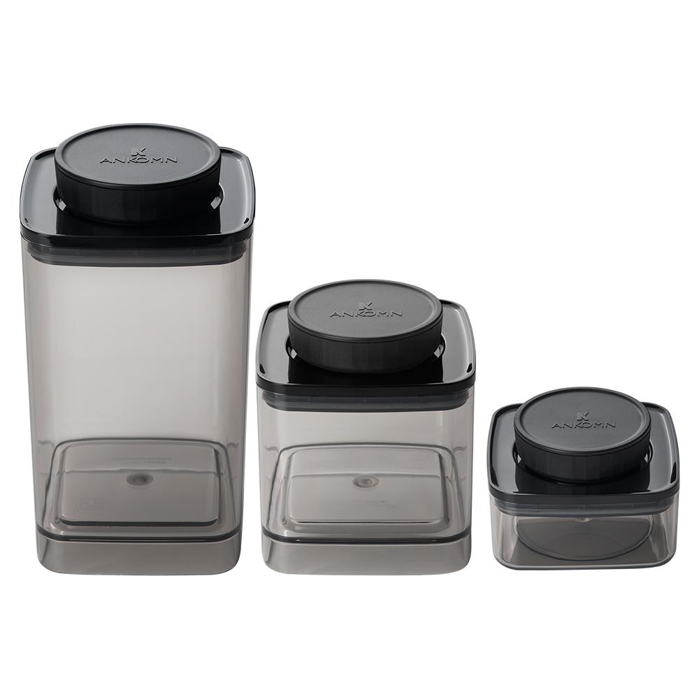 ANKOMN|EVERLOCK 氣密保鮮罐 1200+600+300ml 半透明黑(3入組)