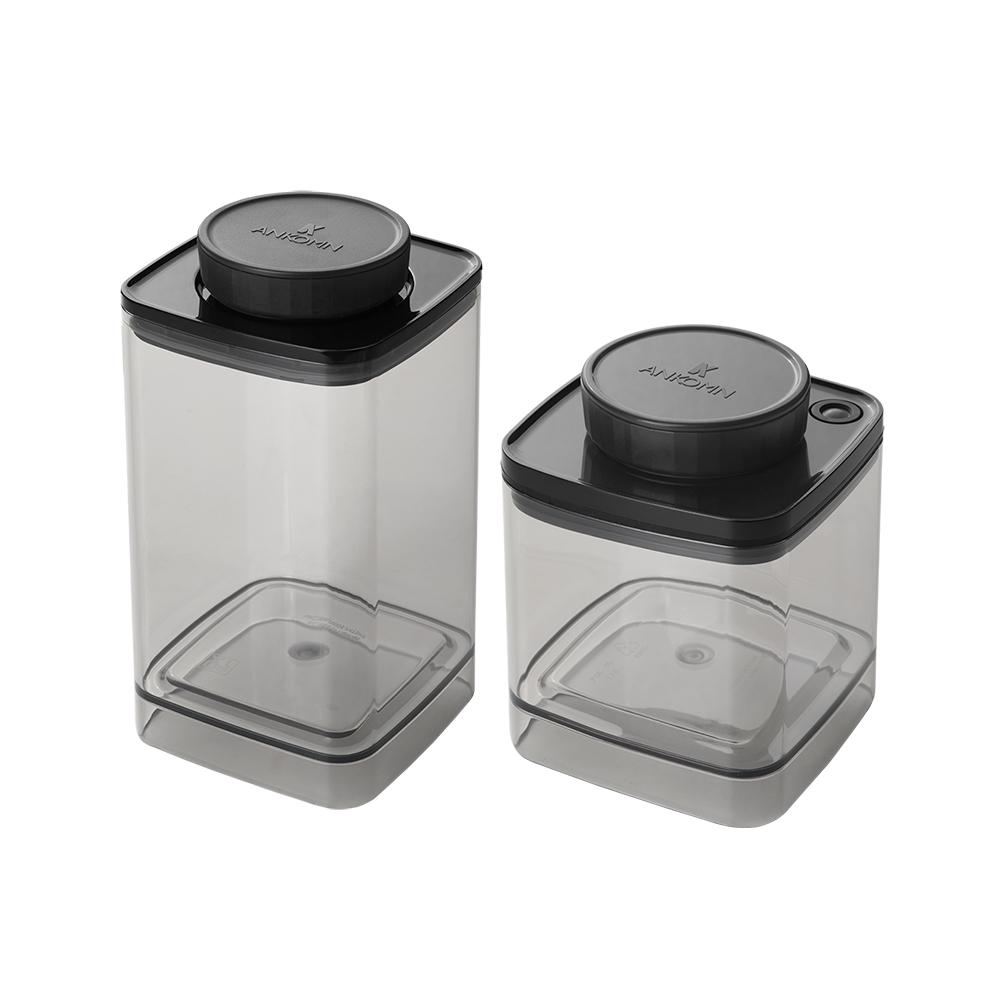ANKOMN|咖啡超值組(透黑-氣密罐1.2L & 真空罐0.6L & 聰明定量匙)