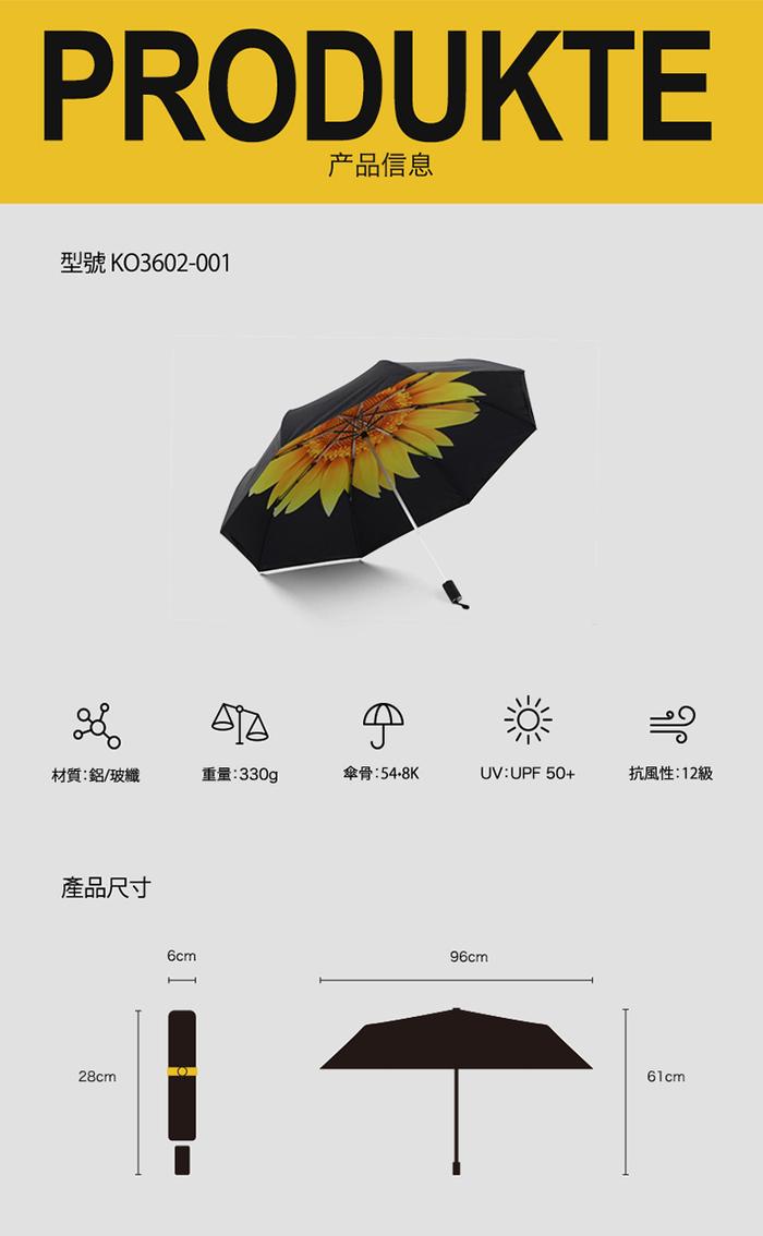 (複製)德國kobold|抗UV降溫10-12度-隱形傘骨-萬花鏡遮陽防曬降溫傘 -雙層三折傘-盛開紫