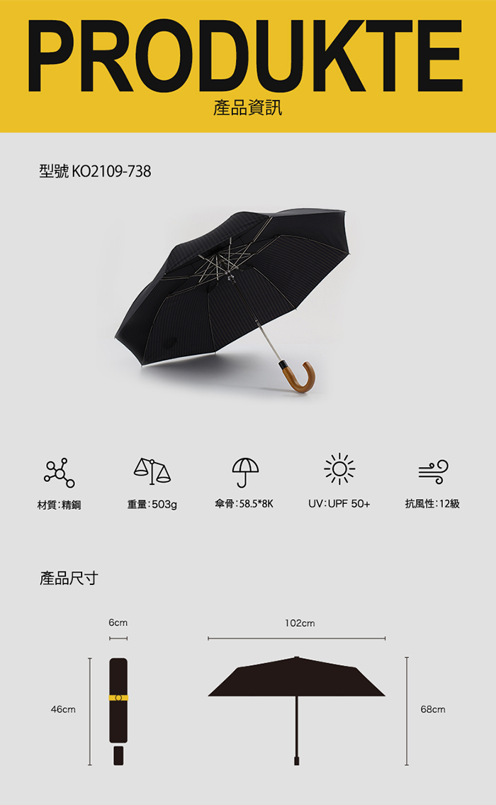 (複製)德國kobold|抗UV經典紳士傘-抗強風-楓木手柄-三折傘-黑