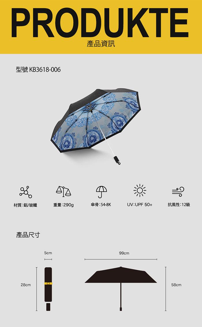 (複製)德國kobold|抗UV零透光智能防曬-青花瓷系列-雙層遮陽防曬降溫傘-三折傘-卷草