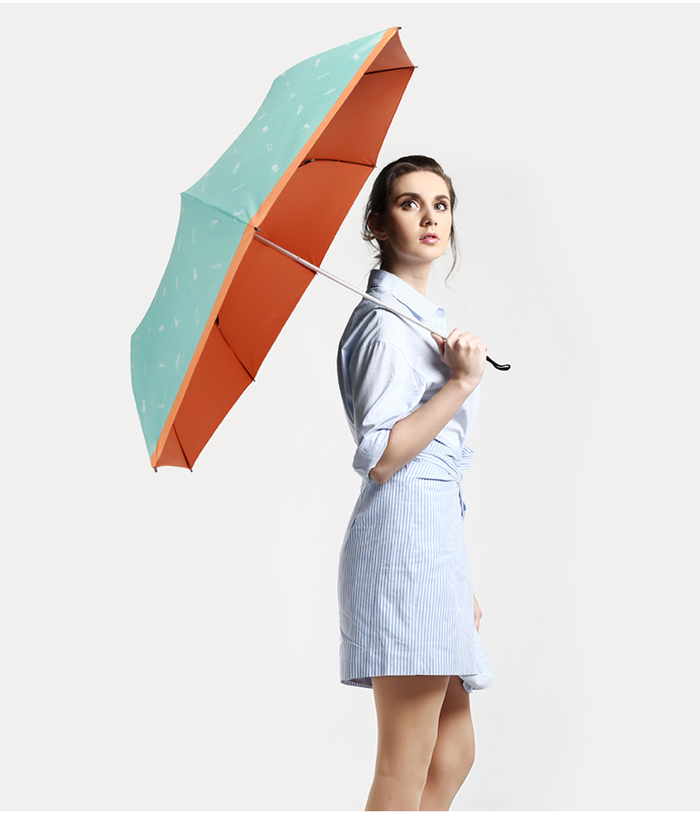 德國kobold|抗UV夏威夷風情-超輕巧 遮陽防曬三折傘-橘色B