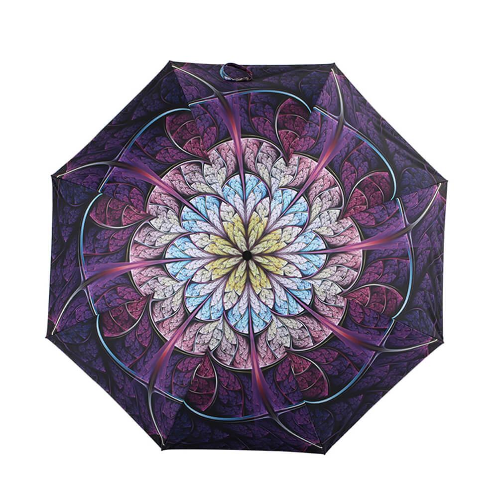 德國kobold|抗UV降溫10-12度-隱形傘骨-萬花鏡遮陽防曬降溫傘 -雙層三折傘-盛開紫