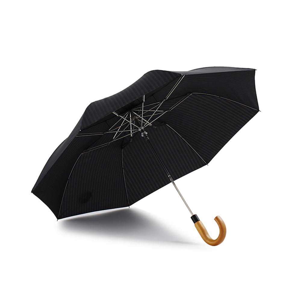 德國kobold|抗UV經典直紋公爵傘-抗強風-楓木手柄-二折傘-深灰藍