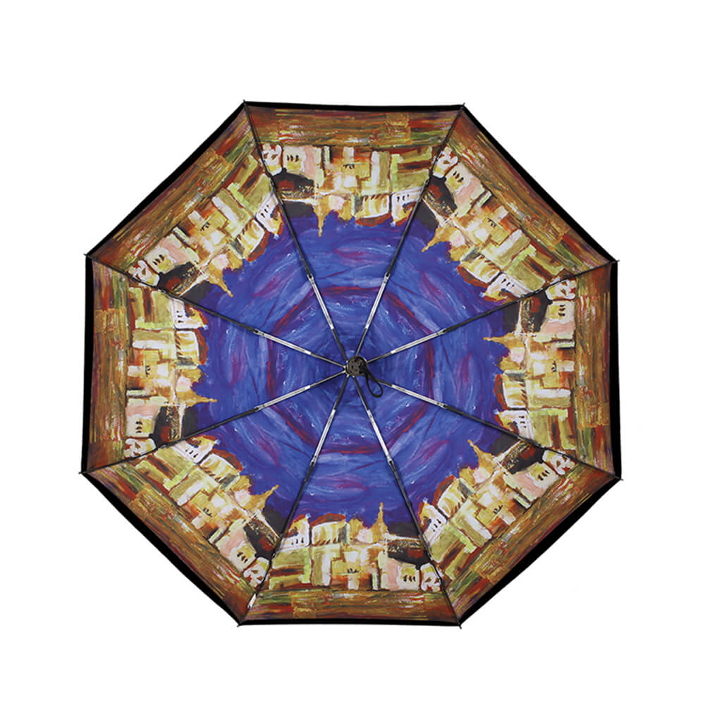 德國kobold|抗UV零透光智能防曬-油畫系列-遮陽防曬降溫傘 -雙層三折傘-城邦