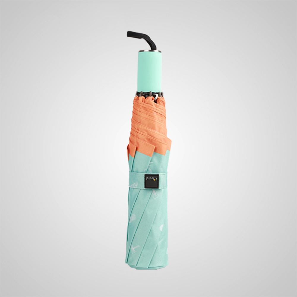 德國kobold|抗UV夏威夷風情-超輕巧 遮陽防曬三折傘-橘色A