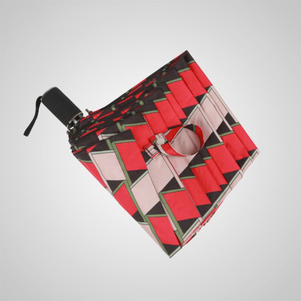 德國kobold|西瓜方磚-超輕巧抗UV防曬三折傘-西瓜紅