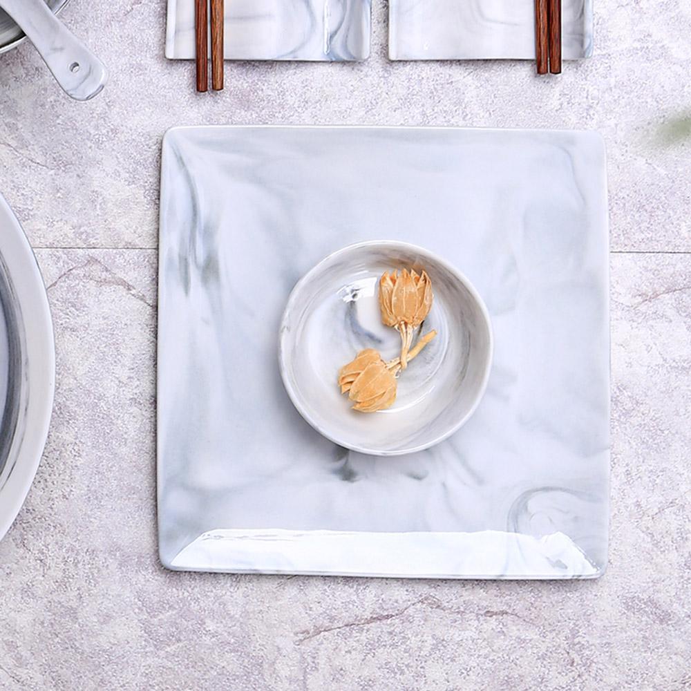 JOYYE陶瓷餐具|畫意四方盤-灰色