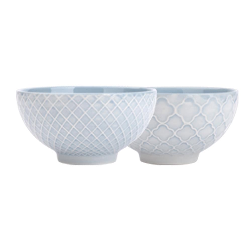 JOYYE陶瓷餐具|幾何人生浮雕小腳碗(一套2件)