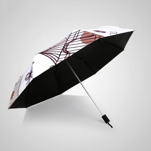 德國kobold|抗UV-小鳥鞦韆-超輕巧-按摩手把-遮陽防曬傘-三折傘-白色