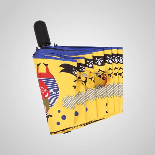 德國kobold|抗UV-童話海盜系列-超輕巧-矽膠蜂巢-按摩手把-遮陽防曬傘-三折傘-金黃