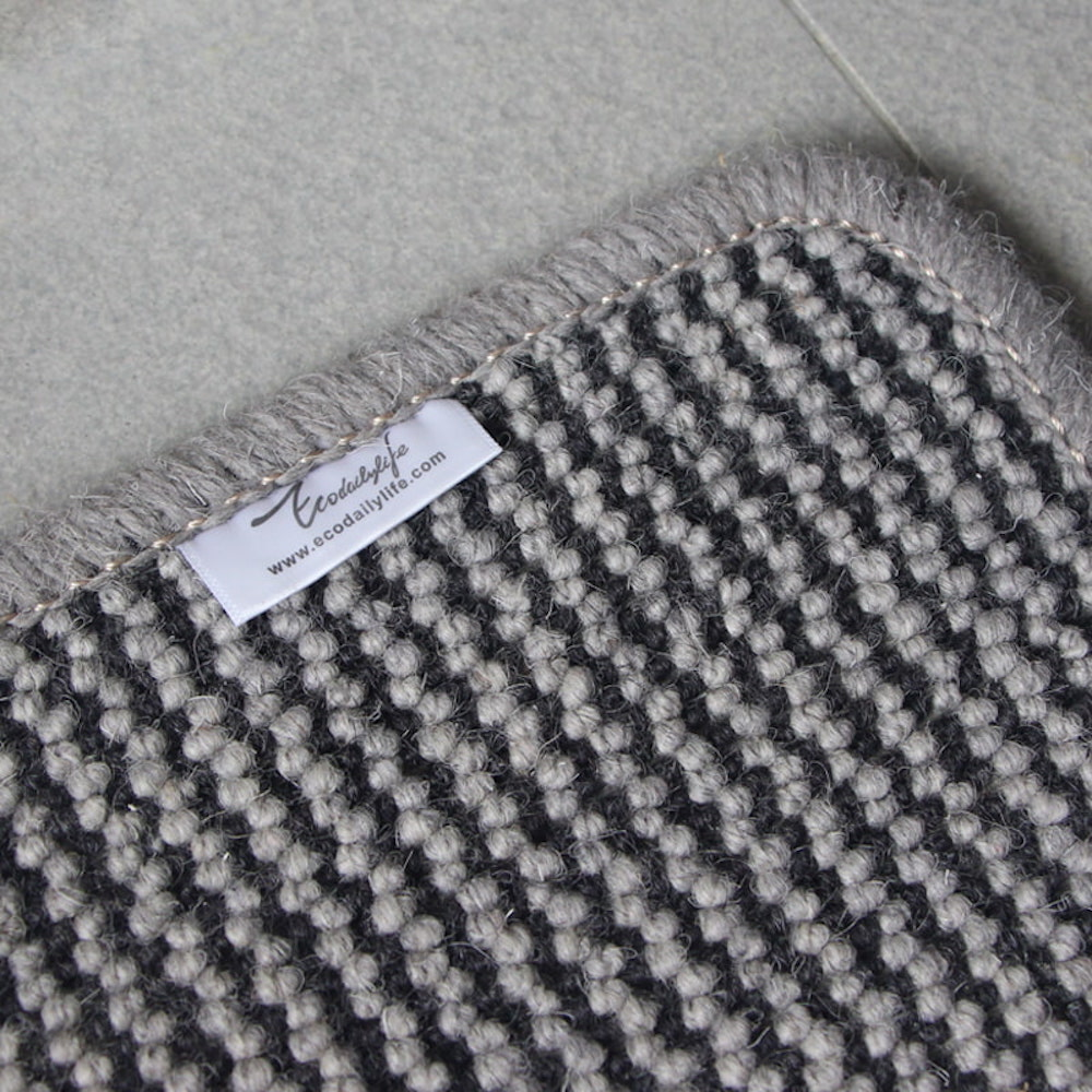 Ecodailylife|北歐風簡約羊毛地墊-青木鐵灰