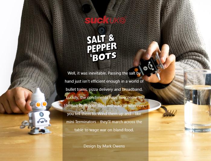 英國 Suck UK|發條機器人椒鹽罐組