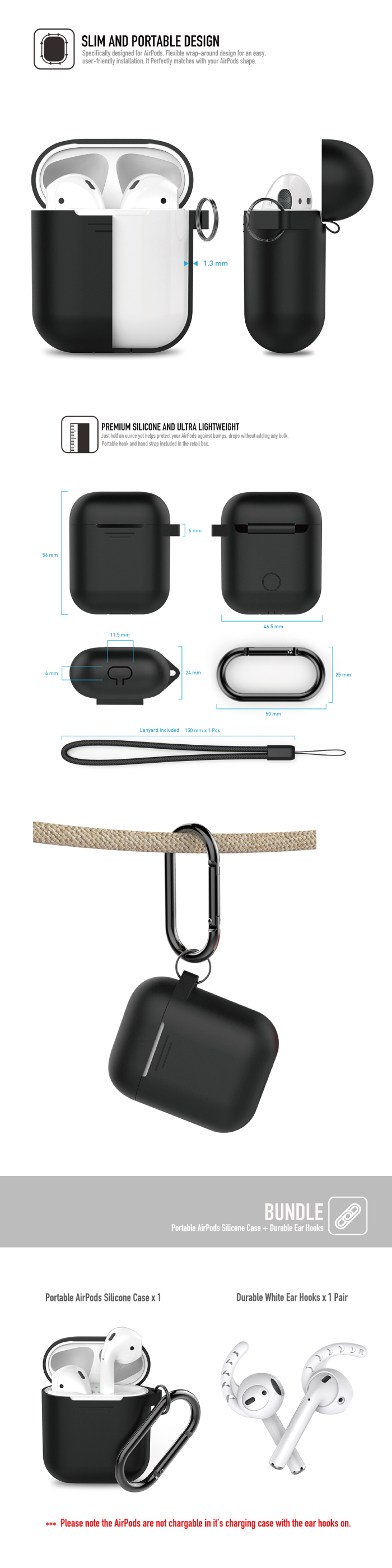 工具豆 | AHAstyle PODFIT 2.0 - AIRPODS 專用全包覆掛勾保護套(黑色)