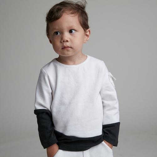 baby baby cool|弧形剪接長袖上衣