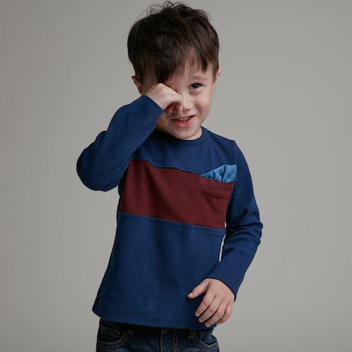 baby baby cool 紳士巾長袖上衣(酒紅)
