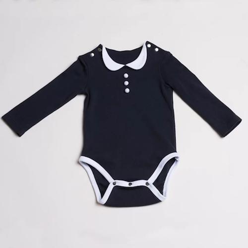 baby baby cool|優雅小圓領包屁衣(黑底白領)